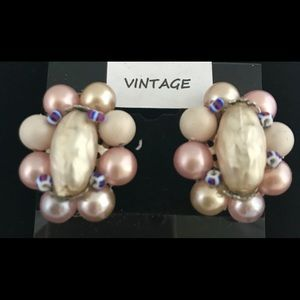 1960's Hand Beaded Pink & Cream Colored Earrings